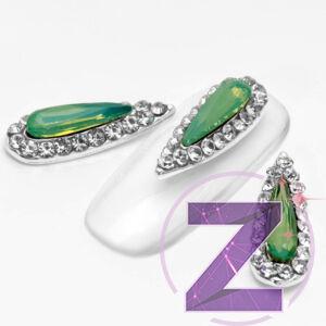 strasszköves körömdísz zöld opál cseppforma