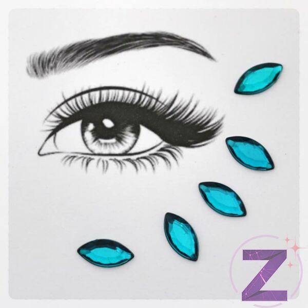 ragasztható smink dísz zircon blue színben