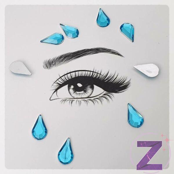 ragasztható smink dísz csepp formában aquamarine színben