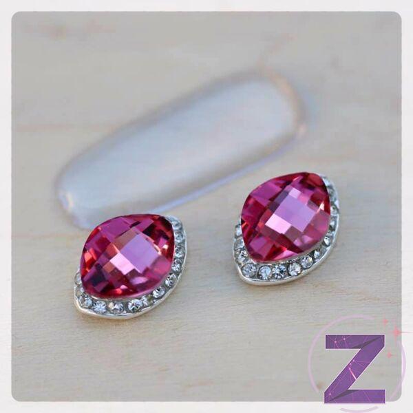 zodiac körömékszer ezüst alapon strasszkövezett pink üveg forma