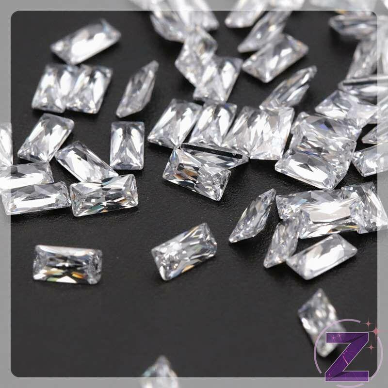 cirkónia ékszerkő hasáb formában crystal színben