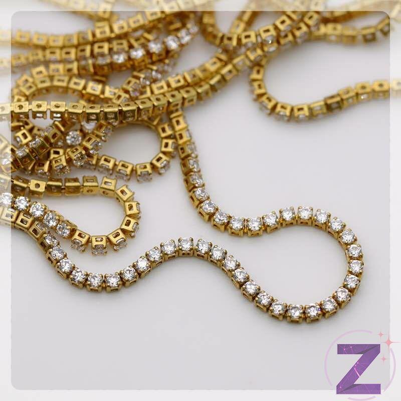 cirkóniaköves lánc arany színű alapon crystal kövekkel