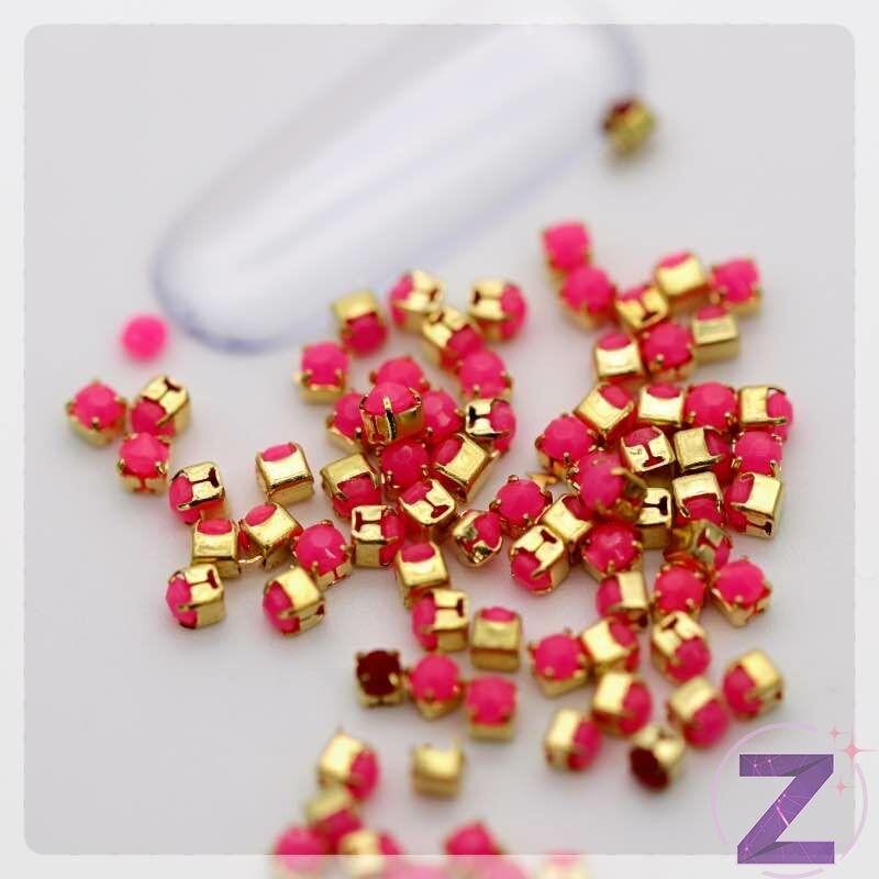 foglalatos strasszkő pink színben
