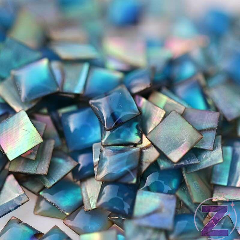 kagyló körömdísz kék színben négyzet formában