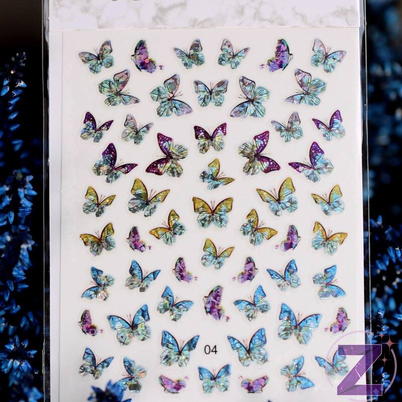 körömmatrica 3D butterfly