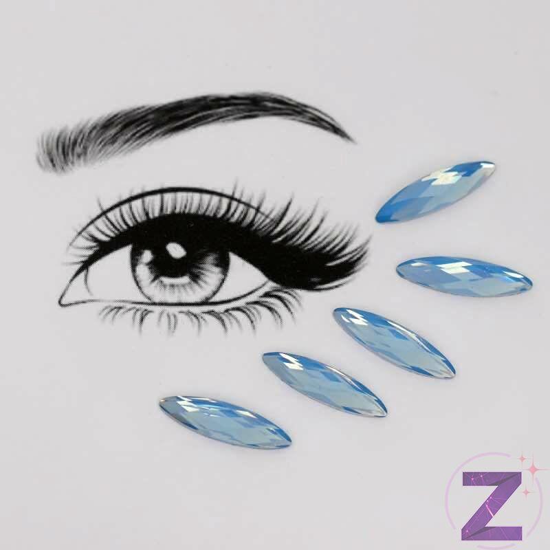 ragasztható smink dísz zabszem formában kék opál színben