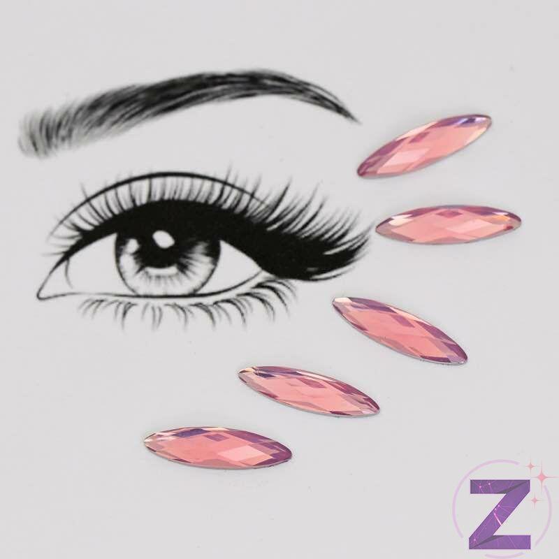 ragasztható smink dísz zabszem formában rózsaszín opál színben