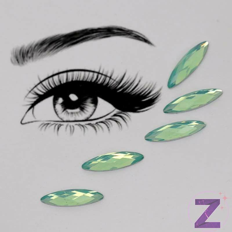 ragasztható smink dísz zabszem formában zöld opál színben