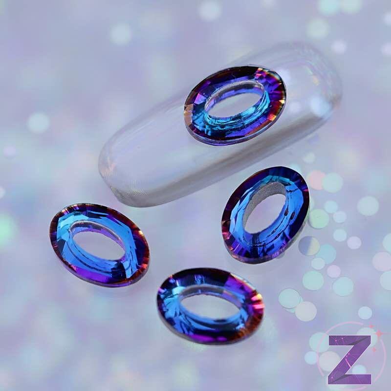 zodiac üveg forma ovális nagy dísz meridian blue színben