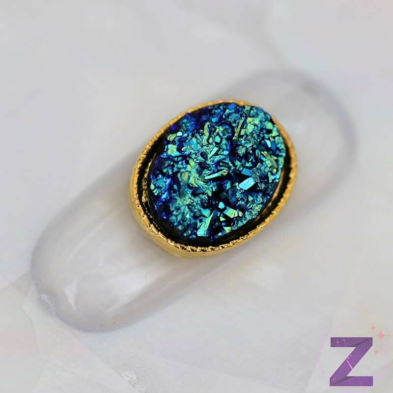 zodiac óriás körömdekoráció kék színben