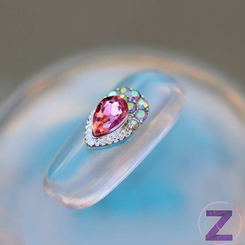 zodiac körömékszer cseppforma rózsaszín kővel