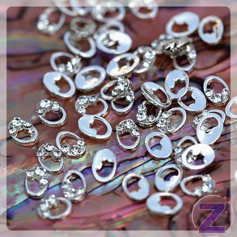 zodiac körömékszer ezüst ovális forma crystal strasszkövekkel