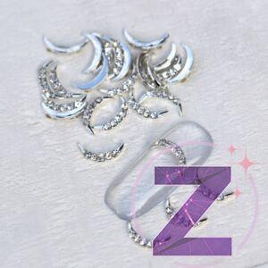 strasszköves körömdísz ezüst félhold