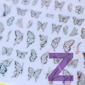 körömmatrica 3D butterfly silver