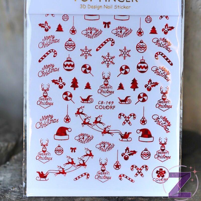 karácsonyi körömmatrica 3D piros mintákkal