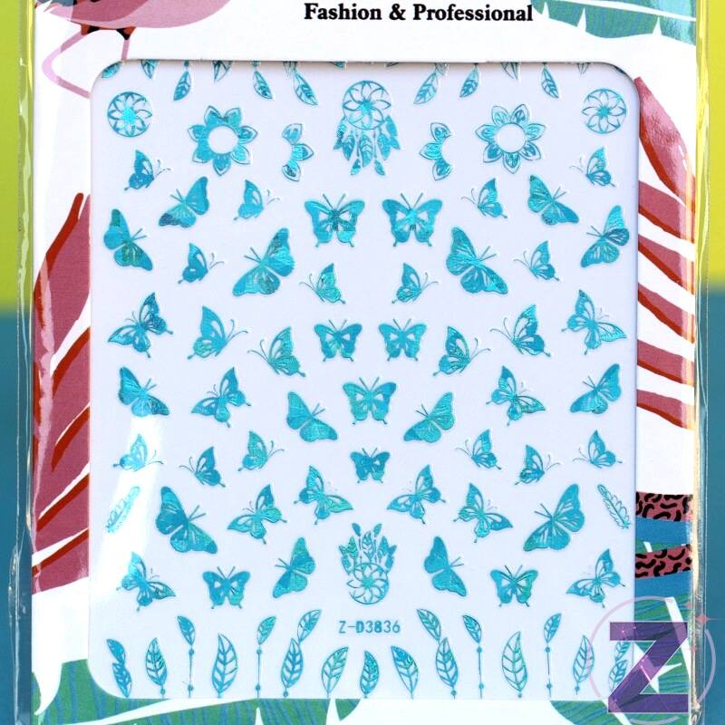 körömmatrica 3D butterfly aquamarine