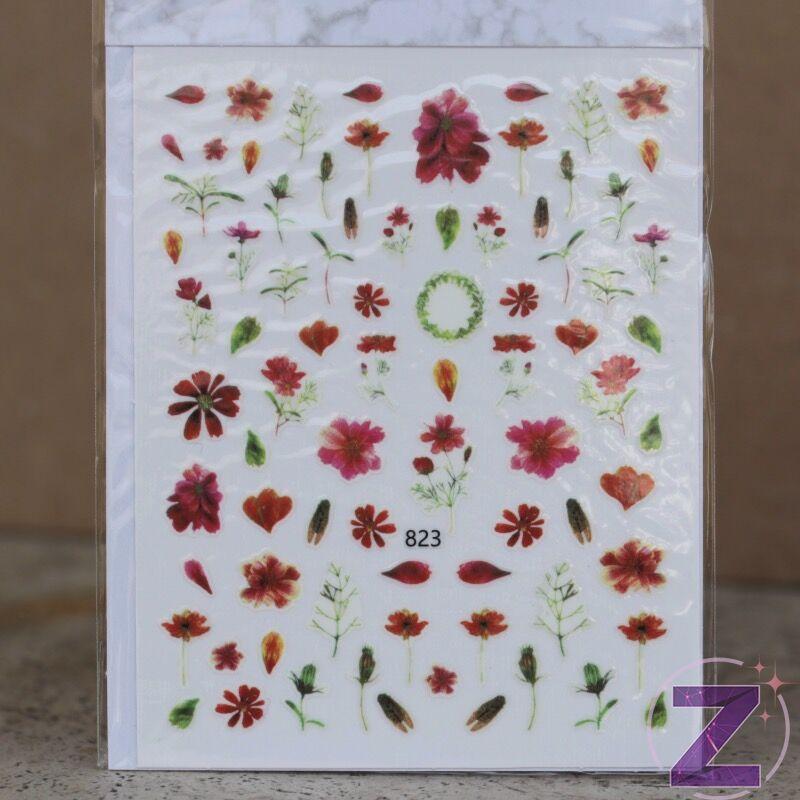 körömmatrica 3D virágok