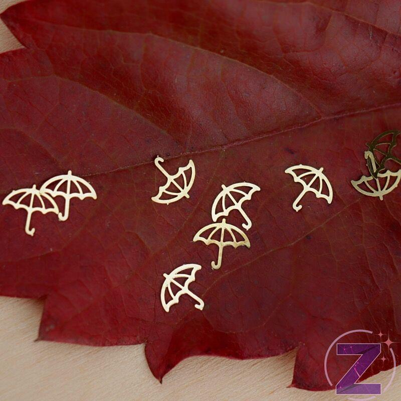 metál körömdíszítő lemez arany színű esernyő